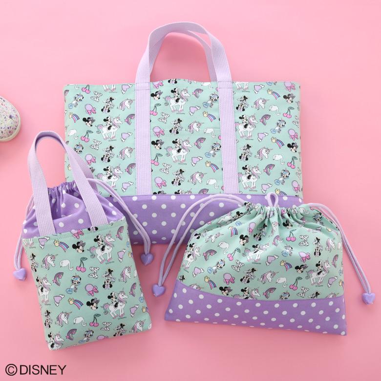 ディズニー ミニー オックス生地の手さげバッグ・上ばき入れ・お着替え袋
