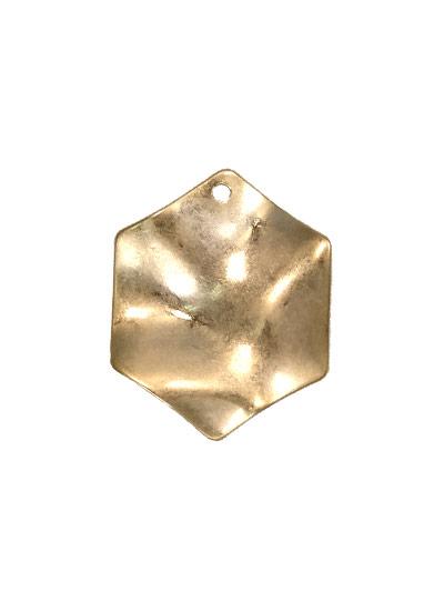 ウォンメッキメタルパーツ 六角形プレート波線