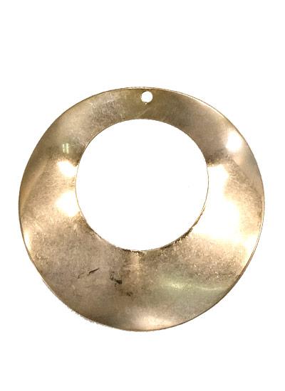 ウォンメッキメタルパーツ 丸くり抜き波線 約35mm