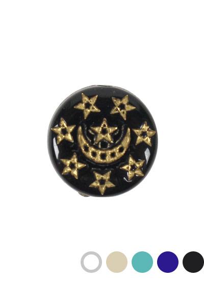 ヴィンテージアクリルビーズ コインA 約13mm