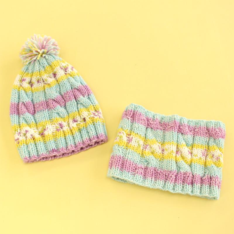 ウイスター バンビーノ1玉で編める編み込み風キッズ帽&ネックウォーマー