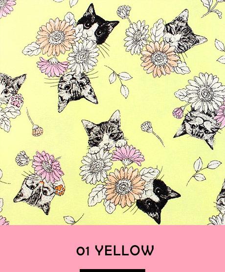 フェリシモ猫部×トーカイ フラワーと猫 シーチング生地